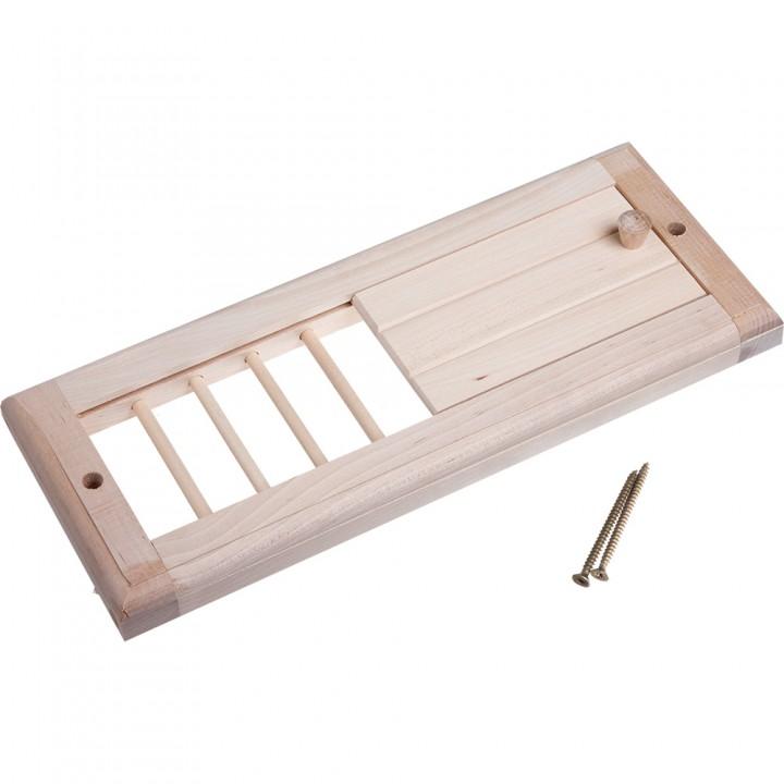 Вентиляционная решетка с задвижкой, липа, 31,5х16,5 см