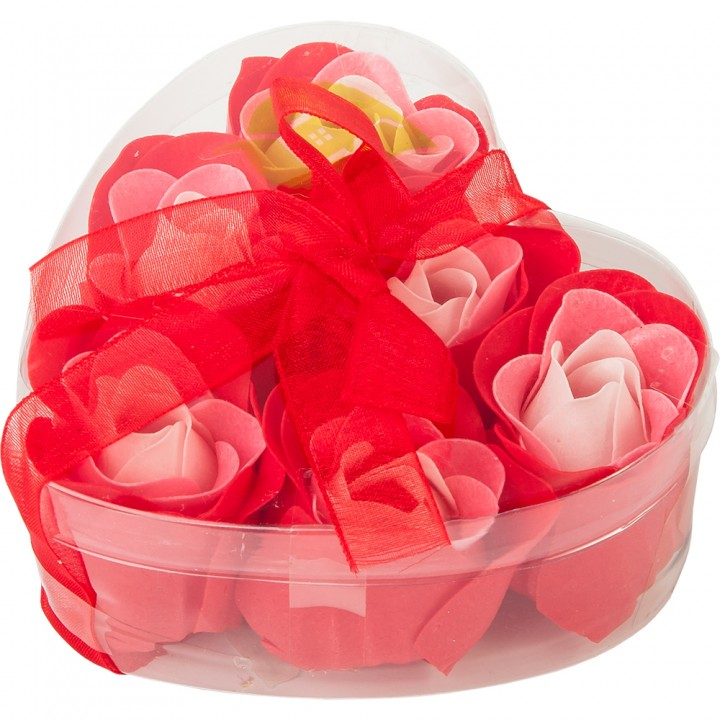 """Мыльные цветы """"Розы"""", в коробке в форме сердца, 6 шт"""