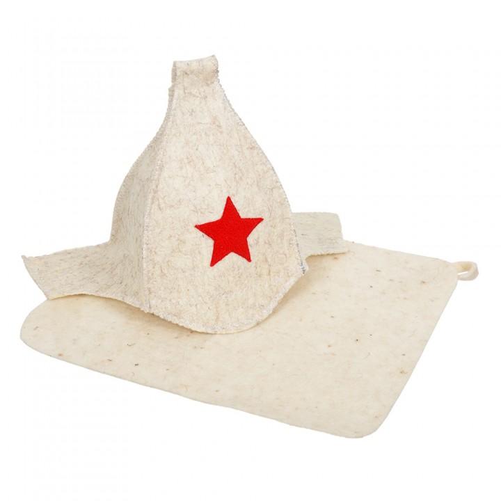 Набор из двух предметов (Шапка Будёновка белая, коврик), войлок 100%