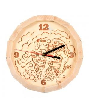 """Часы кварцевые в форме бочки """"В парилке"""" для бани и сауны 27*8 см"""