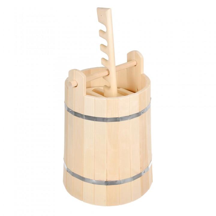 Кадка для воды и заготовки солений 30 л. с гнётом и замком, липа