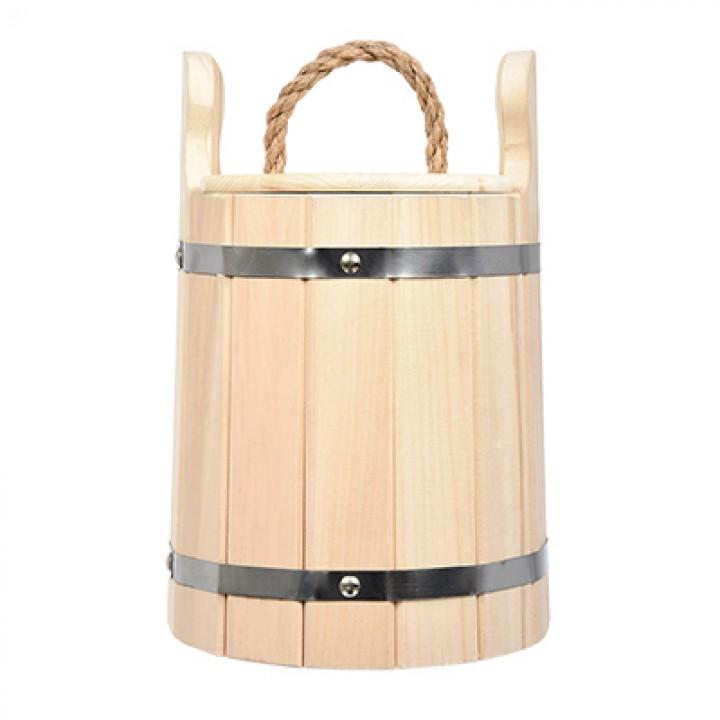 Кадка для воды и заготовки солений 5 л. с крышкой и гнётом, липа