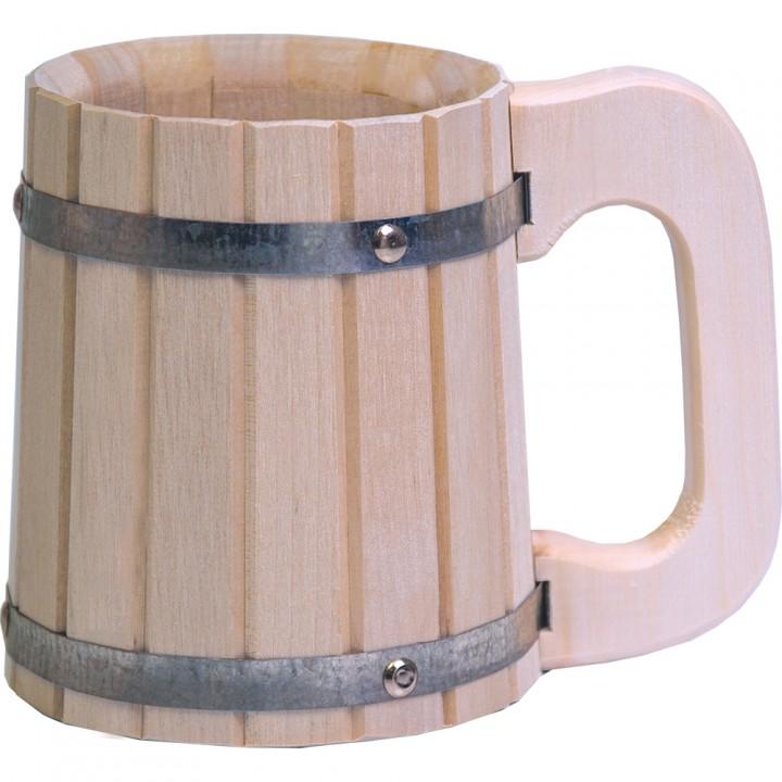 Кружка деревянная бондарная 0,5 л, липа