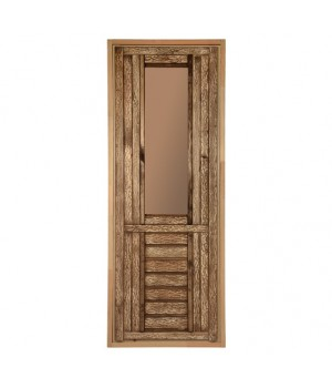 """Дверь состаренная со стеклом (тонированное """"Бронза"""")"""