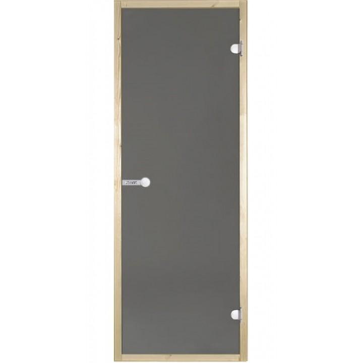 Дверь для сауны Harvia STG 7x19 SH. Стекло серое, коробка сосна